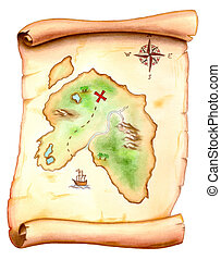 Treasure map - Old map showing a treasure island. Hand...