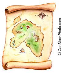 Treasure map - Old map showing a treasure island. Hand...