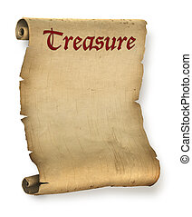 Treasure map - Old ragged treasure map or parchment document...