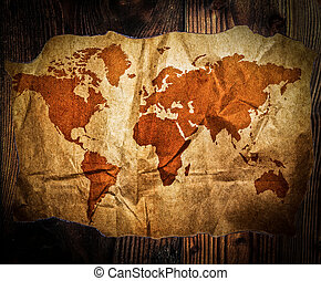 Treasure map on wood table
