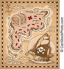 Treasure map theme image 1 - vector illustration.