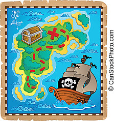Treasure map theme image 2 - vector illustration.