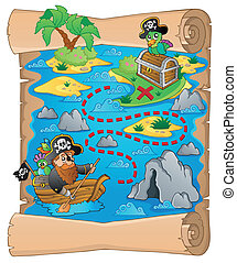 Treasure map topic image 2 - eps10 vector illustration.