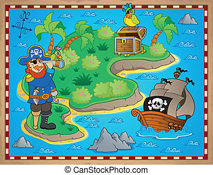 Treasure map topic image 8 - eps10 vector illustration.