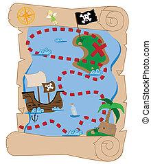 Treasure map pirate scroll