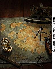 treasure map with nautical and pirate paraphernalia