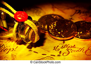 Treasure Map With Gold and a Bottle