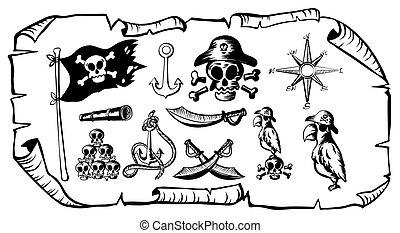 Treasure map with many pirate symbols