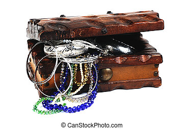 treasure  - Old wooden box and jewells on white backgrownd