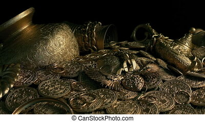 Treasure Pile With Gold Antiques And Coins - Sideways...
