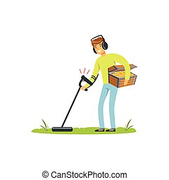 Smiling treasure seeker with metal detector and old antique chest of gold coins in his hands looking for treasures. Cartoon man character who wants to get rich. Vector isolated on white background.