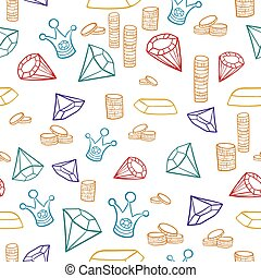 Treasure Sketch Vector Pattern with Coins Crowns and Gems