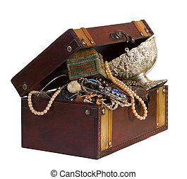 treasure trunk - wooden treasure trunk with jewellery,...