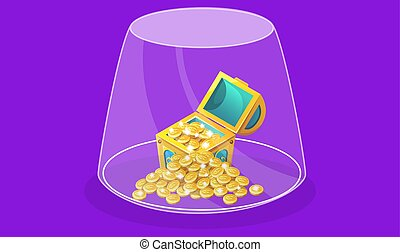 treasure with gold coins in a glass jar on abstract background