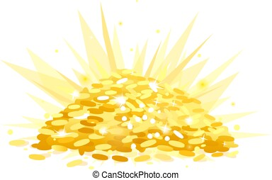 Treasure with heap of gold coins
