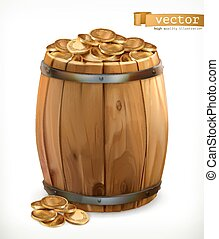 Treasure. Wooden barrel with gold coins. 3d vector icon