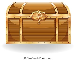 Treasure - Wooden chest with golden trim and lock