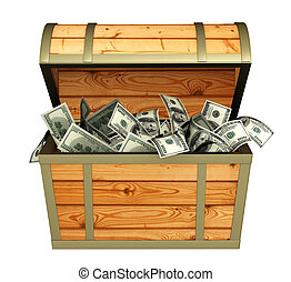 Treasures - Wooden box with money - over white