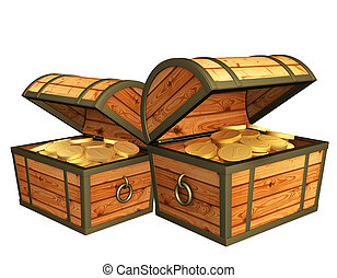 Two wooden boxes with treasures - over white