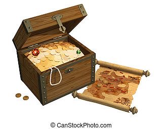Wooden box with treasures and pirate map