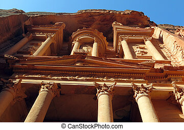 Treasury at Petra in Jordan in the Middle East