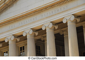 The Treasury Department building is a famous landmark in Washington DC