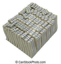 Treasury. Huge bundle of US dollars