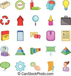 Treasury icons set, cartoon style