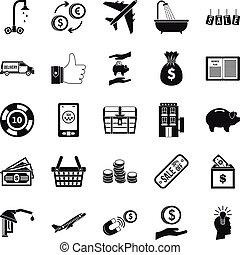 Treasury icons set, simple style - Treasury icons set....