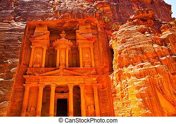 Treasury in Petra - Al-Khazneh - The Treasury temple carved...