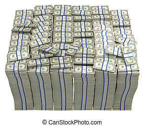 Treasury. Large bundle of US dollars isolated