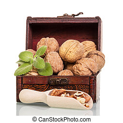 Treasury of with nuts and kernels in wooden scoop isolated.