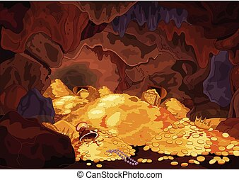 Treasury - Illustration of a magic treasury cave