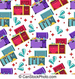 Treasury with gems and pearls seamless pattern vector - ...