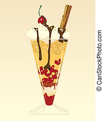 Treat - Editable vector illustration of dessert in a tall...