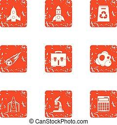 Treatise icons set, grunge style