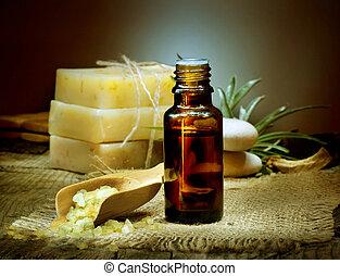 treatment., ásványvízforrás, olaj, aromatherapy., alapvető