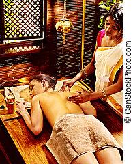 treatment., エステ, 女, 持つこと, ayurvedic