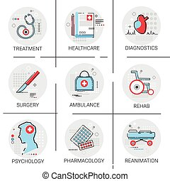 Treatment Hospital Doctors Clinic Medical Icon Set