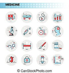 Treatment Hospital Doctors Clinic Medical Icon Set