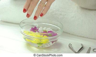 treatment., kurort, manikyrera, mottagande, räcker
