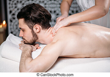 treatment massage for full body. man lead healthy lifestyle....
