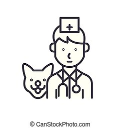 Treatment of animals black icon concept. Treatment of animals flat  vector symbol, sign, illustration.