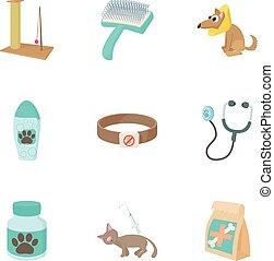 Treatment of animals icons set, cartoon style
