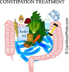 Treatment of constipation. Infographics. Vector illustration on isolated background.