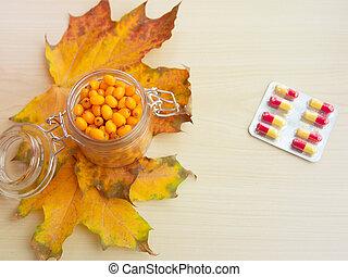 treatment of folk remedies, tablets, sea buckthorn, ...