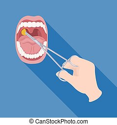 Treatment of the tonsils In the oral cavity. Medicine single icon in flat style vector symbol stock illustration web.