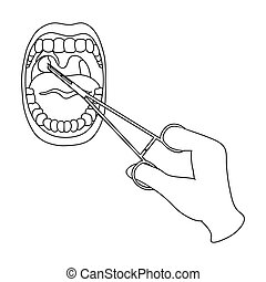 Treatment of the tonsils In the oral cavity. Medicine single icon in outline style vector symbol stock illustration web.