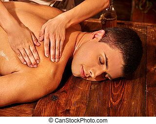 treatment., spa, homem, ayurvedic, tendo