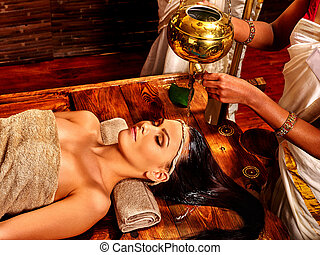 treatment., spa, mulher, tendo, ayurvedic